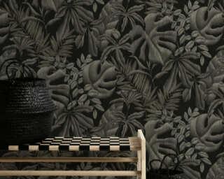A.S. Création Wallpaper «Floral, Black, Grey» 370332