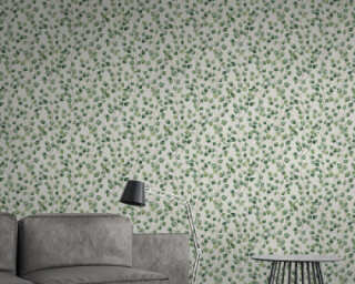 A.S. Création Wallpaper «Floral, Green, White» 370441