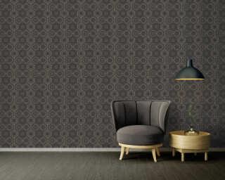 A.S. Création Wallpaper «Graphics, Floral, Black, Gold, Metallic» 371774