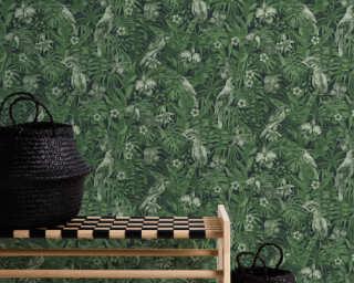 A.S. Création Wallpaper «Floral, Black, Green» 372101