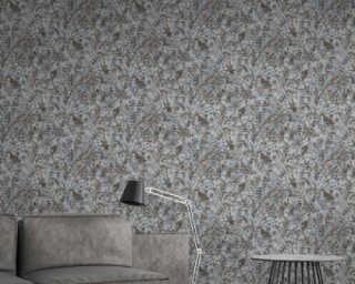 A.S. Création Wallpaper «Floral, Black, Blue, Grey, White» 372103