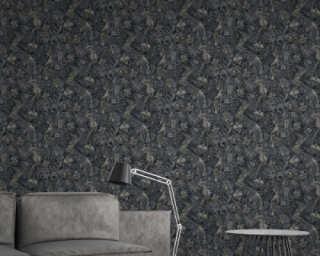 A.S. Création Wallpaper «Floral, Black, Cream, Grey» 372104