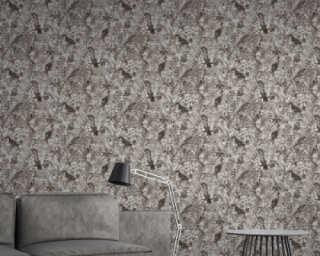 A.S. Création Wallpaper «Floral, Black, Grey, White» 372105