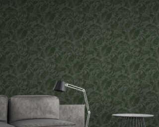 A.S. Création Wallpaper «Floral, Black, Green» 372193