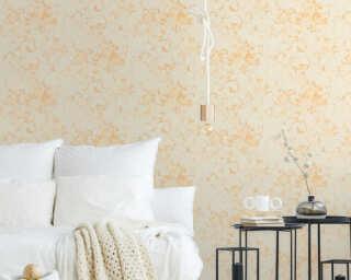 A.S. Création papier peint «Fleurs, beige, crème, métallique, or» 372243
