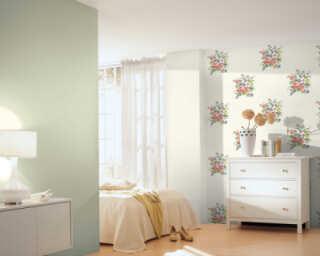 A.S. Création papier peint «Fleurs, bleu, crème, rose, vert» 372251