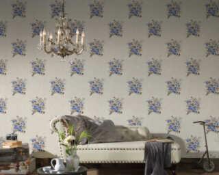 A.S. Création Wallpaper «Flowers, Blue, Brown, Cream» 372252