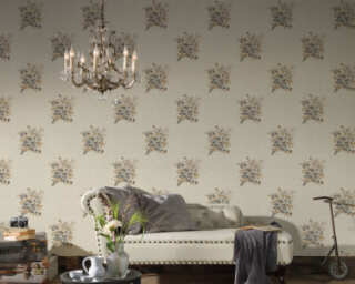 A.S. Création Wallpaper «Flowers, Brown, Cream, Grey» 372253