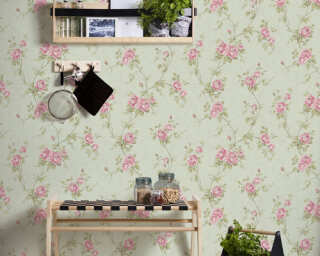 A.S. Création Wallpaper «Floral, Green, Pink» 372264