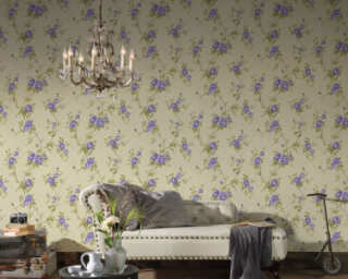 A.S. Création Wallpaper «Floral, Cream, Green, Purple» 372265