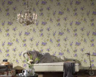 A.S. Création papier peint «Fleurs, crème, vert, violet» 372265