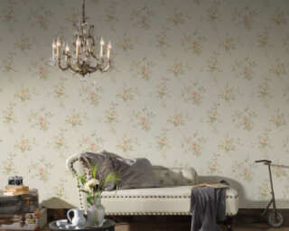A.S. Création Wallpaper «Floral, Cream, Green, Orange, Pink» 372307