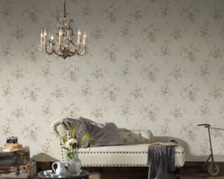 A.S. Création Wallpaper «Floral, Cream, Grey, Red» 372314