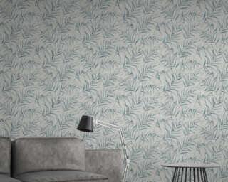 A.S. Création papier peint «Floral, bleu, gris» 373351