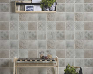 A.S. Création Wallpaper «Tile, Beige, Blue, Cream, Grey» 373883