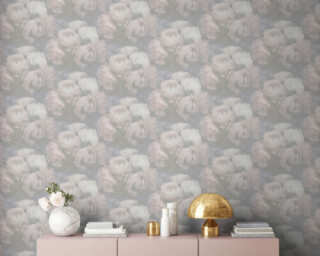 Livingwalls Wallpaper «Flowers, Grey, Pink, White» 373923