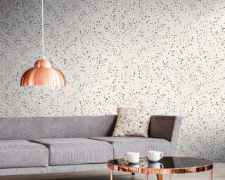 Livingwalls Wallpaper «Graphics, Black, Metallic, Silver, White» 373942