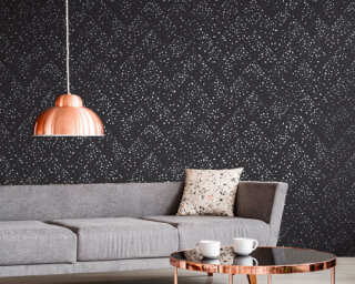 Livingwalls Wallpaper «Graphics, Black, Grey, Metallic, Silver» 373945