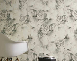 A.S. Création Wallpaper «Flowers, Beige, Cream, Grey, Taupe» 373984