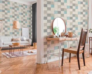 Livingwalls Wallpaper «Tile, Blue, Cream, Grey, Turquoise» 374061