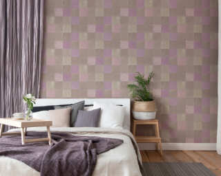 Livingwalls papier peint «Tuile, beige, gris, taupe, violet» 374062