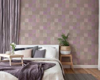 Livingwalls Wallpaper «Tile, Beige, Grey, Purple, Taupe» 374062