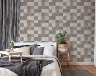Livingwalls papier peint «Tuile, crème, gris» 374063