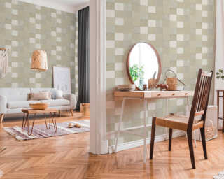Livingwalls papier peint «Tuile, crème, gris» 374064