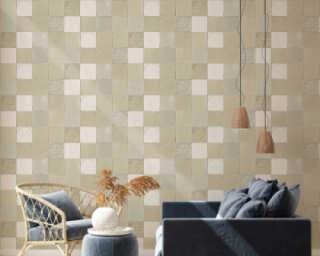 Livingwalls Wallpaper «Tile, Cream, Grey» 374064