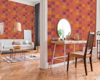 Livingwalls Tapete «Fliesen, Orange, Rot» 374065