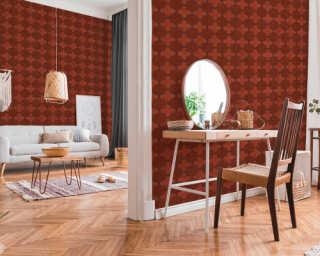 Livingwalls Wallpaper «Tile, Black, Grey, Red» 374211
