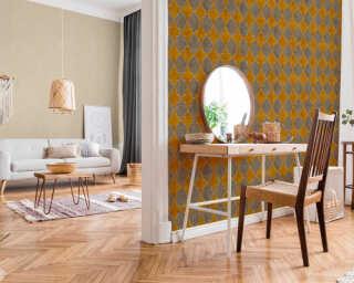 Livingwalls Wallpaper «Tile, Beige, Cream, Yellow» 374212