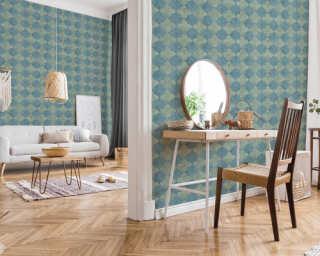 Livingwalls Wallpaper «Tile, Beige, Blue, Cream, Green» 374214