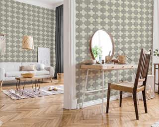 Livingwalls Wallpaper «Tile, Cream, Grey» 374215