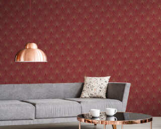 Livingwalls Wallpaper «Baroque, Gold, Metallic, Red» 374274