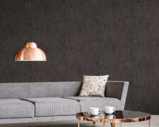 Livingwalls Wallpaper «Uni, Black, Gold, Metallic» 374314