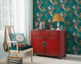 A.S. Création Tapete «Floral, Blau, Grau, Grün, Orange» 374641