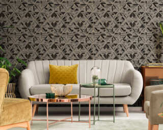A.S. Création Wallpaper «Graphics, Black, Brown, Gold, Grey» 374814