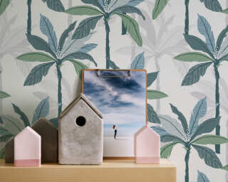Private Walls Wallpaper «Floral, Blue, Green, White» 375301