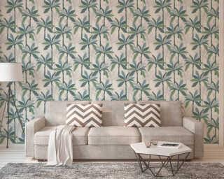 Private Walls papier peint «Floral, blanc, bleu, vert» 375301
