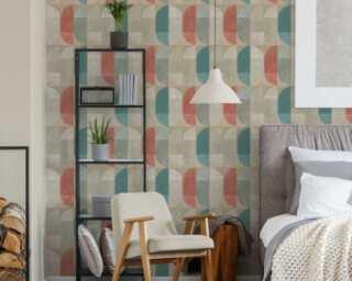 Private Walls papier peint «Graphique, beige, bleu, marron, rouge» 375311