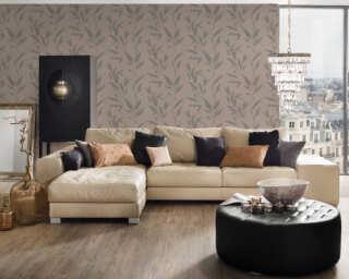 A.S. Création papier peint «Floral, beige, gris, marron, taupe» 375493