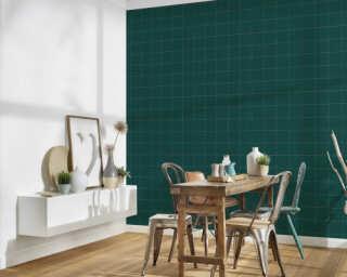 A.S. Création papier peint «Maison, Floral, métallique, or, vert» 375511