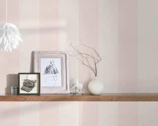 A.S. Création Wallpaper «Stripes, Floral, Cream, Pink» 375542