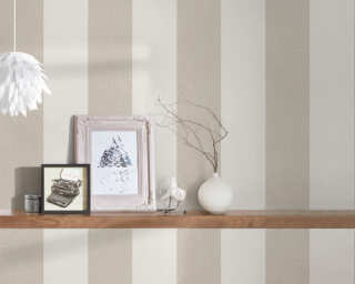 A.S. Création Wallpaper «Stripes, Floral, Beige, Cream» 375543