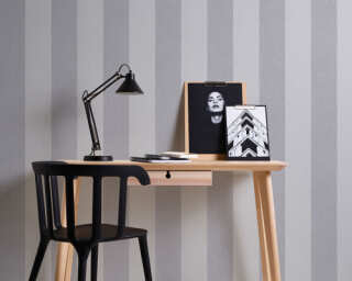 A.S. Création Wallpaper «Stripes, Floral, Grey» 375544
