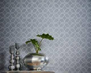 Architects Paper Vliestapete «Grafik, Blau, Grau, Metallics, Silber» 375644