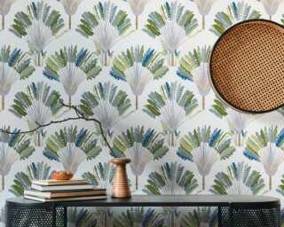 Architects Paper Vliestapete «Floral, Grau, Grün, Weiß» 377081