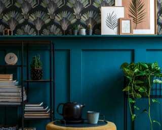 Architects Paper Vliestapete «Floral, Blau, Grün, Schwarz» 377085