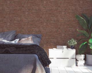 Livingwalls Tapete «Landhaus, Braun, Rot» 377472